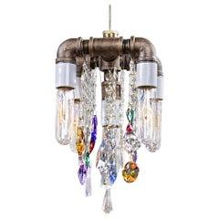 Industrial Five-Bulb Compact Chandelier Pendant