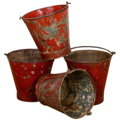 Industrial Galvanised Red Fire Buckets, 20th Century