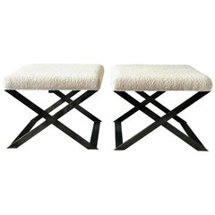 Industrial Glamour Inspired X-Leg Stool in Blackened Steel and Bouclé Fabric