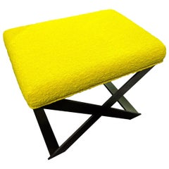 Industrial Glamour X-Leg Stool Blackened Steel and Yellow Boucle