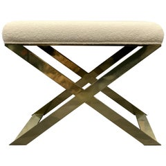 Industrial Glamour X-Leg Stool in Brass Tint and Ivory Boucle