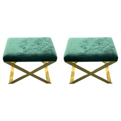 Industrial Glamour X-Leg Stool in Polished Brass and Teal Ribbed Velvet
