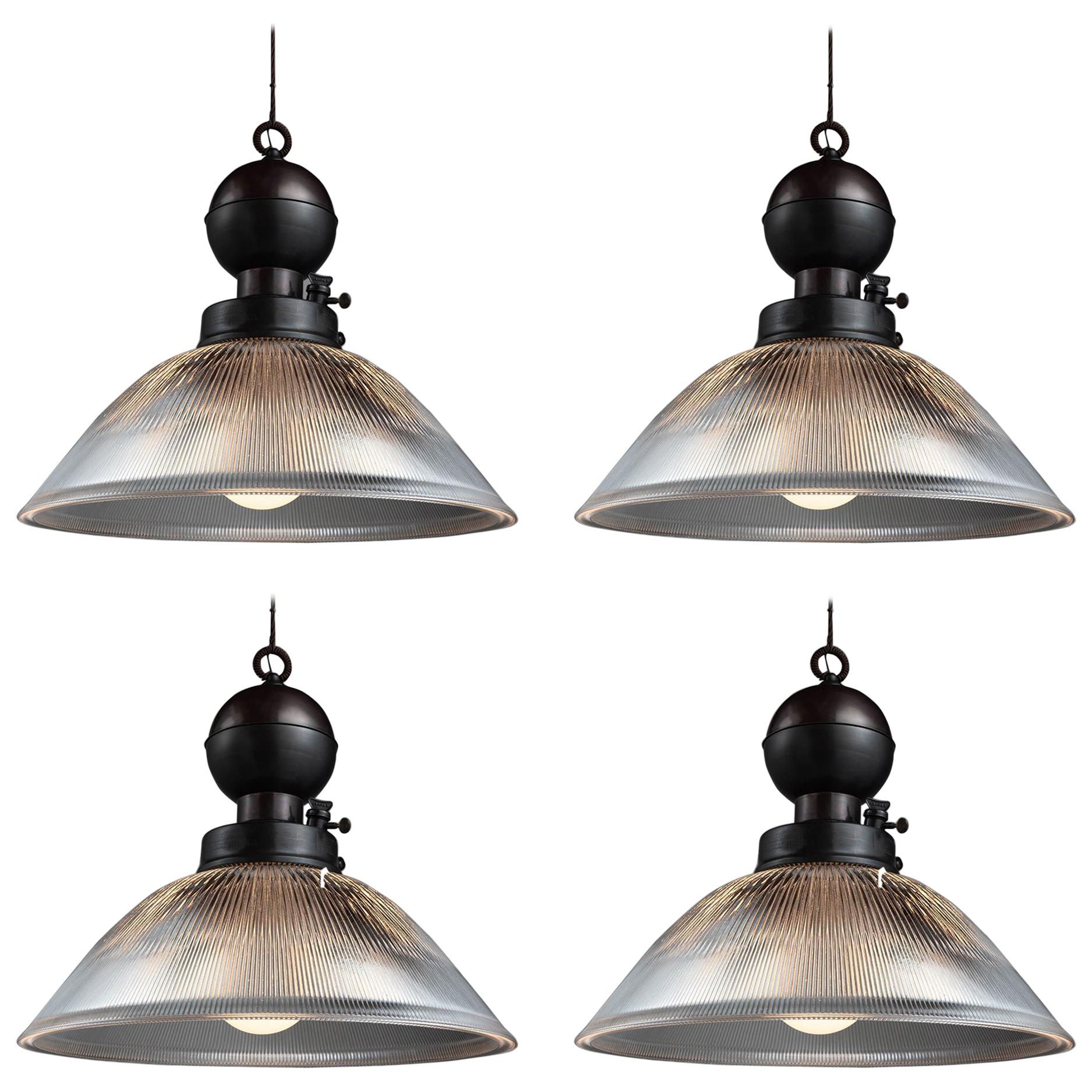 Industrial Glass and Brass Gas Lamp Pendant, Italy, 21st Century