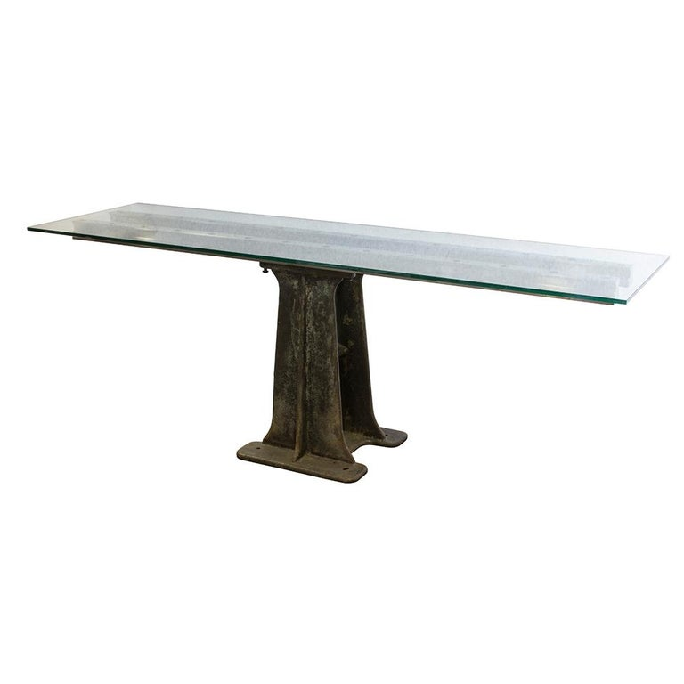 Industrial Glass and Iron Table In Good Condition For Sale In Aurora, OR