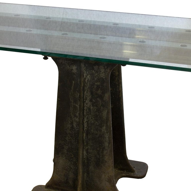 20th Century Industrial Glass and Iron Table For Sale