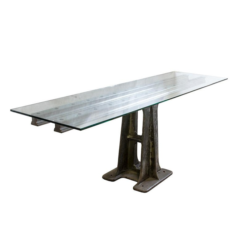 Industrial Glass and Iron Table For Sale