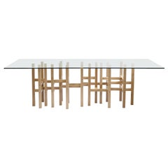 Industrial Glass Top Dining Table by Peter Harrison Made to Order