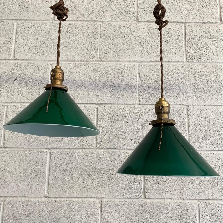 Industrial Green Glass Cone Pendant Lights In Good Condition For Sale In Brooklyn, NY