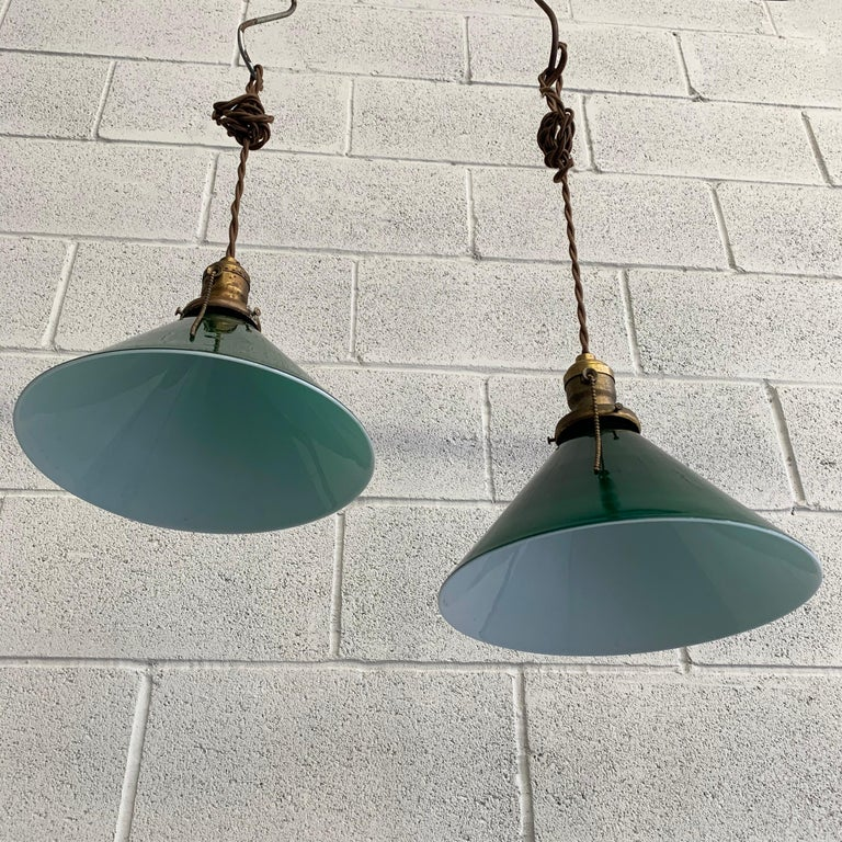 20th Century Industrial Green Glass Cone Pendant Lights For Sale