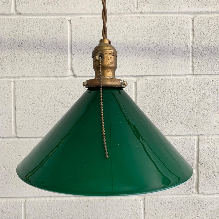 Brass Industrial Green Glass Cone Pendant Lights For Sale