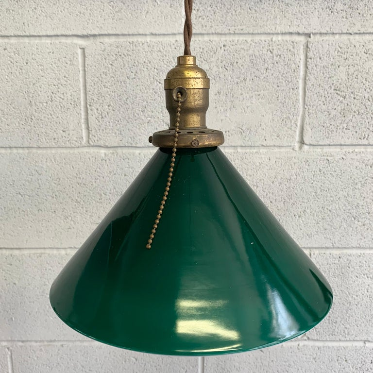 Industrial Green Glass Cone Pendant Lights For Sale 1