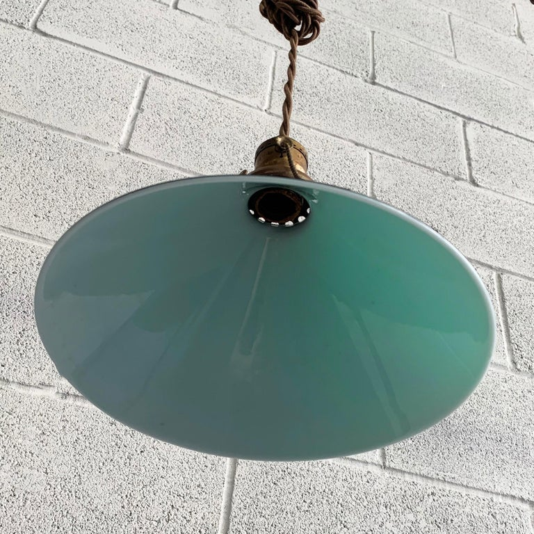 Industrial Green Glass Cone Pendant Lights For Sale 2