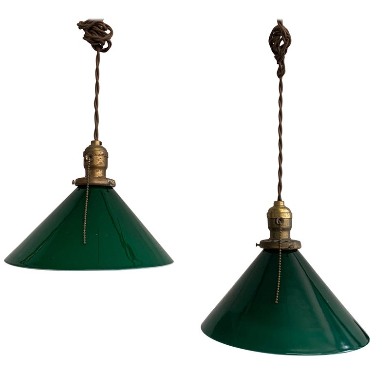 Industrial Green Glass Cone Pendant Lights For Sale