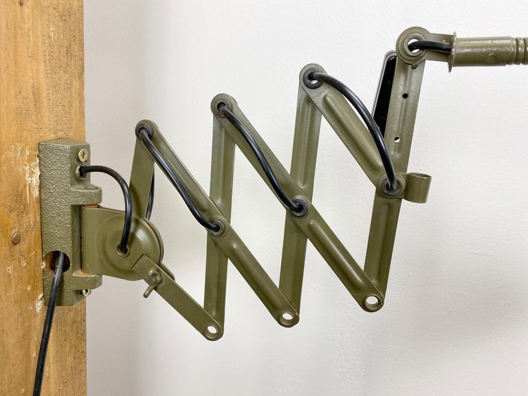 Iron Industrial Green Scissor Wall Lamp, 1960s For Sale