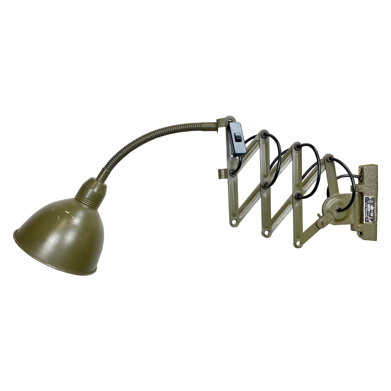 Industrial Green Scissor Wall Lamp, 1960s