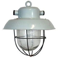 Industrial Grey Aluminum Hanging Light, 1960s
