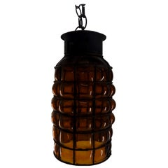 Industrial Hanging Amber Bubble Glass Pendant