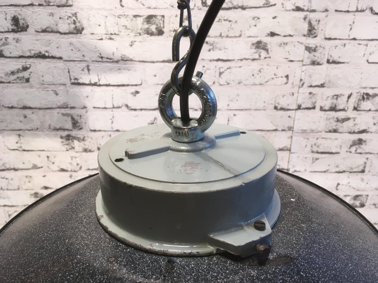 Cast Industrial Hanging Lamp With Milk Glass, 1970s For Sale