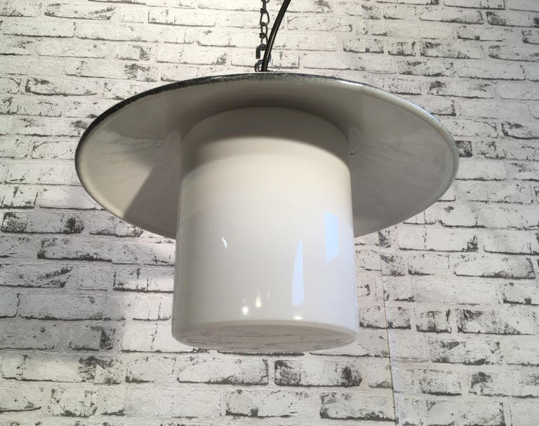 Industrial Hanging Lamp With Milk Glass, 1970s In Good Condition For Sale In Mratin, CZ