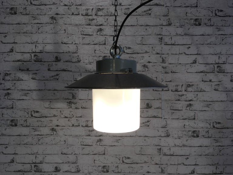 20th Century Industrial Hanging Lamp With Milk Glass, 1970s For Sale