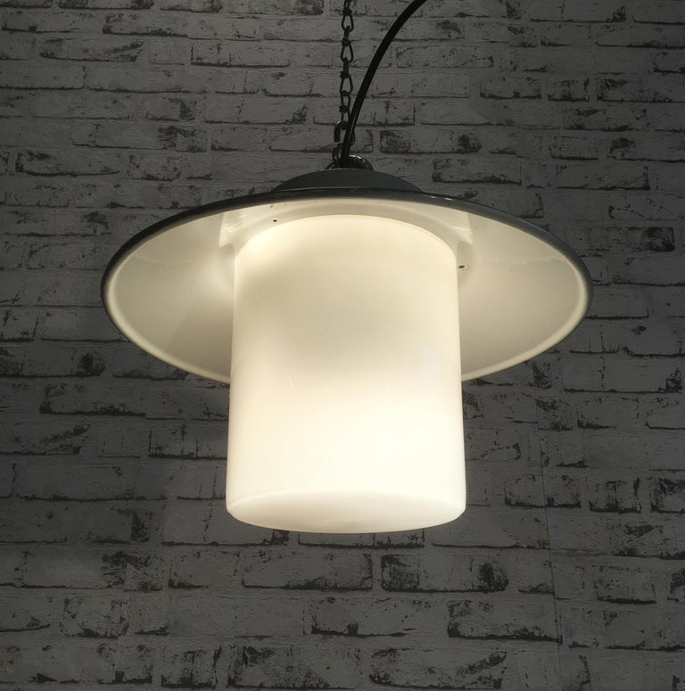 Aluminum Industrial Hanging Lamp With Milk Glass, 1970s For Sale