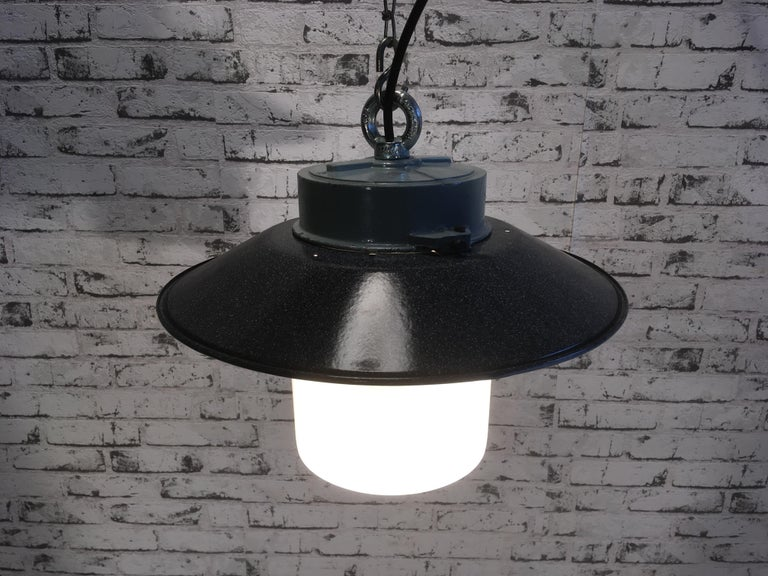 Industrial Hanging Lamp With Milk Glass, 1970s For Sale 1