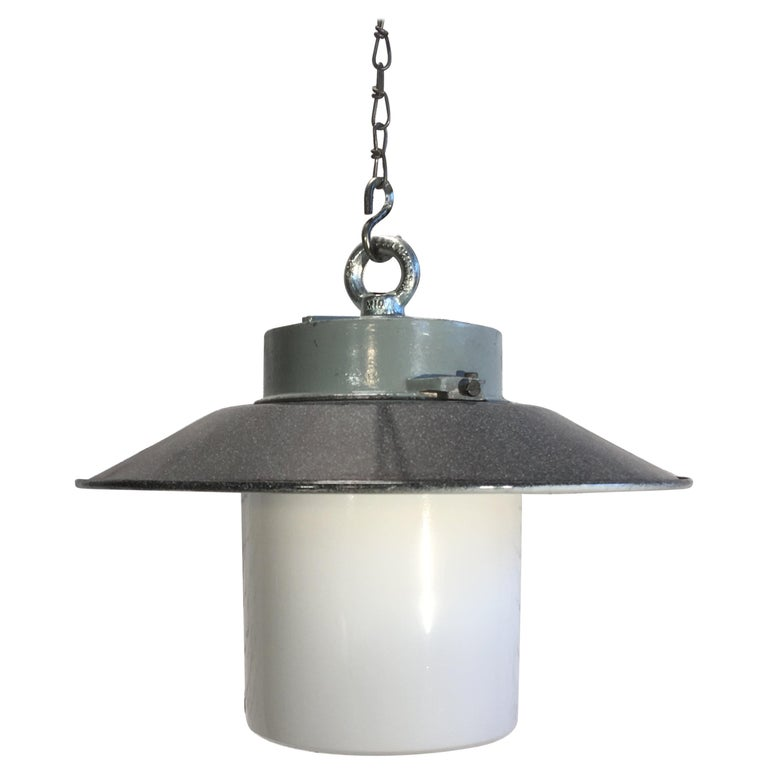 Industrial Hanging Lamp With Milk Glass, 1970s For Sale