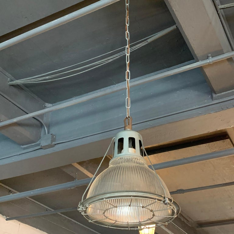 American Industrial Holophane Caged Factory Pendant Light