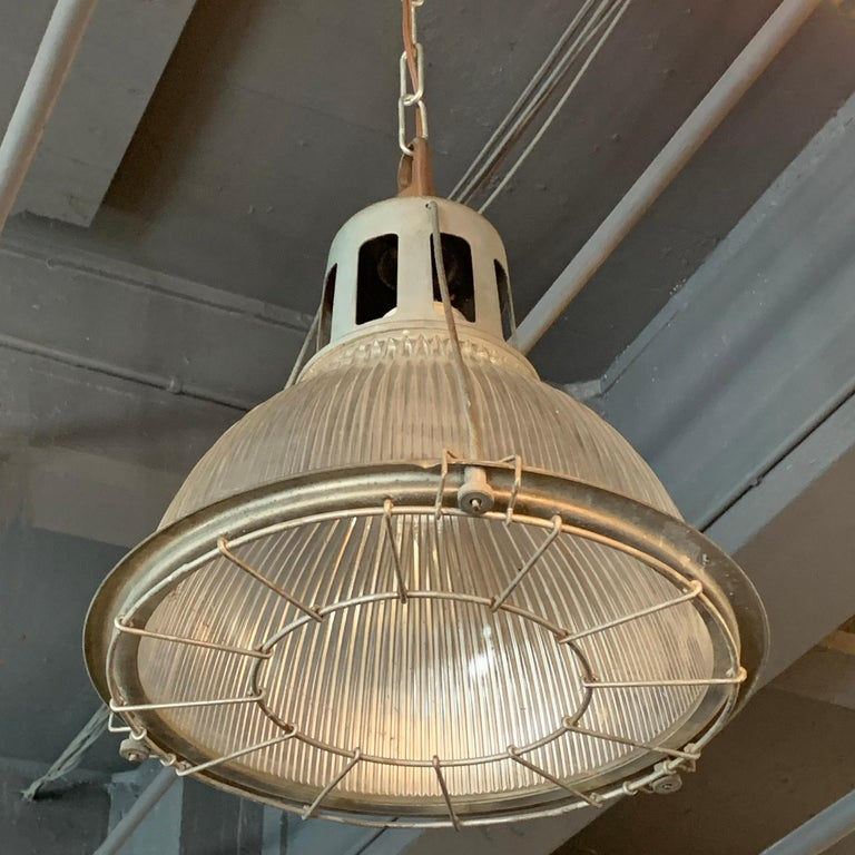 20th Century Industrial Holophane Caged Factory Pendant Light