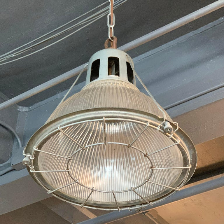 Steel Industrial Holophane Caged Factory Pendant Light