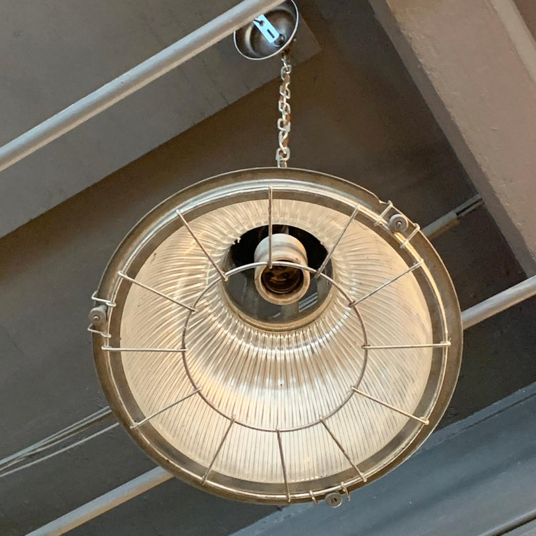 Industrial Holophane Caged Factory Pendant Light 1