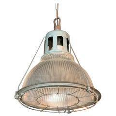 Industrial Holophane Caged Factory Pendant Light
