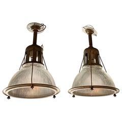 Industrial Holophane Glass Flushmount Factory Lights