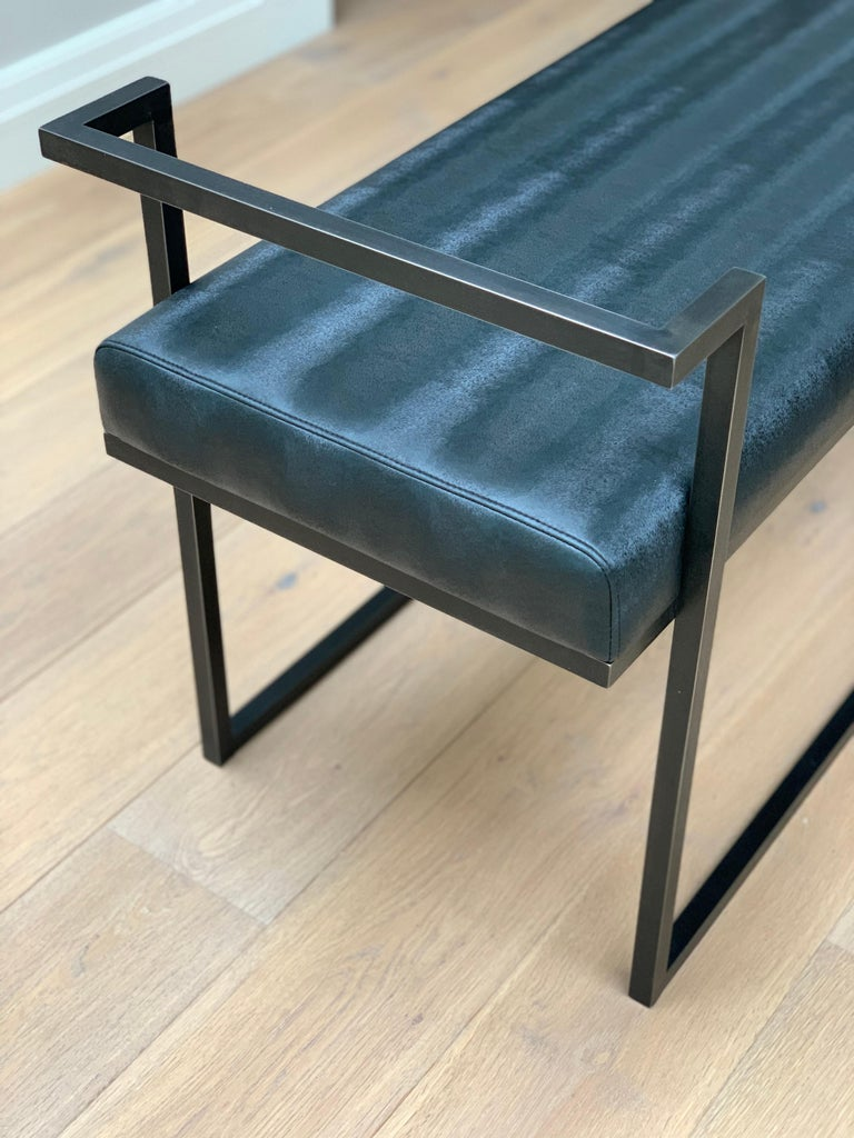 Industrial Inspired Eros Bench in Blackened Steel and Black Pony Ultraleather For Sale 5