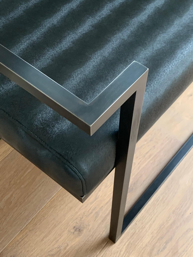 Industrial Inspired Eros Bench in Blackened Steel and Black Pony Ultraleather In New Condition For Sale In London, GB