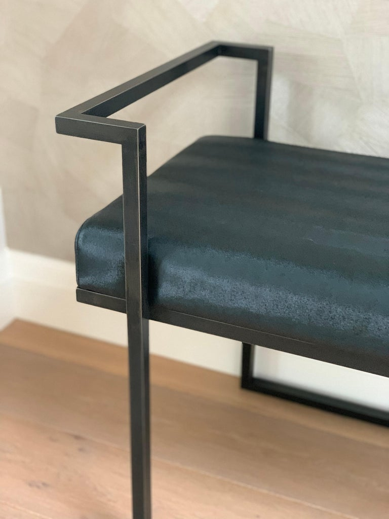 Industrial Inspired Eros Bench in Blackened Steel and Black Pony Ultraleather For Sale 2