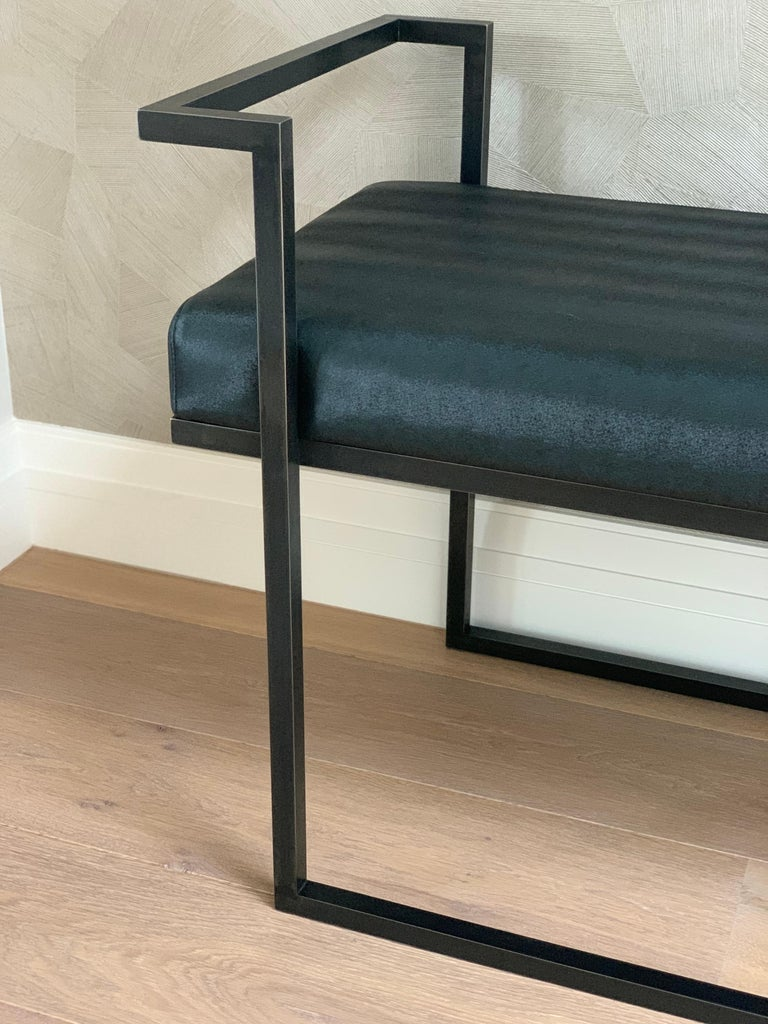 Industrial Inspired Eros Bench in Blackened Steel and Black Pony Ultraleather For Sale 3