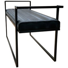Industrial Inspired Eros Bench in Blackened Steel and Black Pony Ultraleather