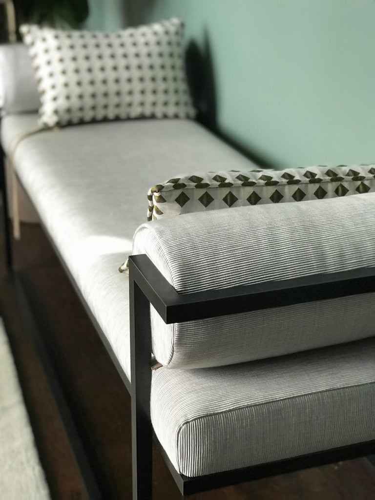 Bouclé Industrial Inspired Eros Bench in Blackened Steel and Streaky Effect Fabric For Sale