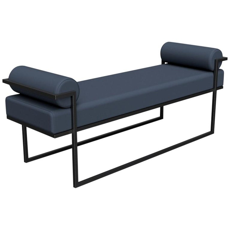 Industrial Inspired Eros Bench in Blackened Steel and Streaky Effect Fabric For Sale