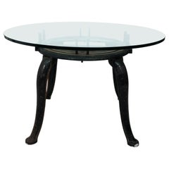 Industrial Iron Base Center Table with Glass Top