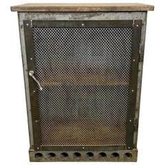 Industrial Iron Cabinet with Mesh Door, 1960s