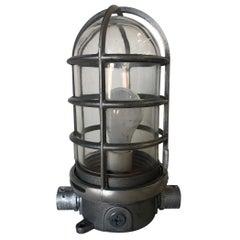 Industrial Iron Caged Marine Vapor Glass Light Fixture