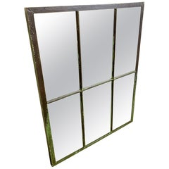 Industrial Iron Window with Mirror, 1930s