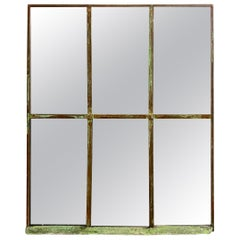 Industrial Iron Window with Mirror, 1950s