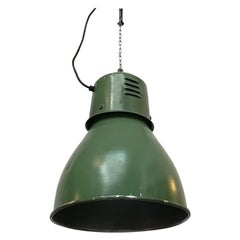 Industrial Italian Green Metal Ceiling Lamp, 1960s