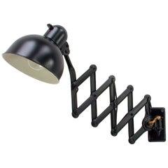 Industrial Kaiser Idell Black Adjustable Scissor Wall Light Model 6718, 1930s
