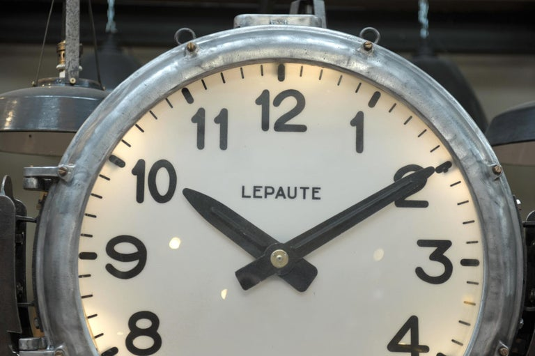 Industrial Large Shelf with Parisian Subway Lepaute Clock, circa 1950 For Sale 7