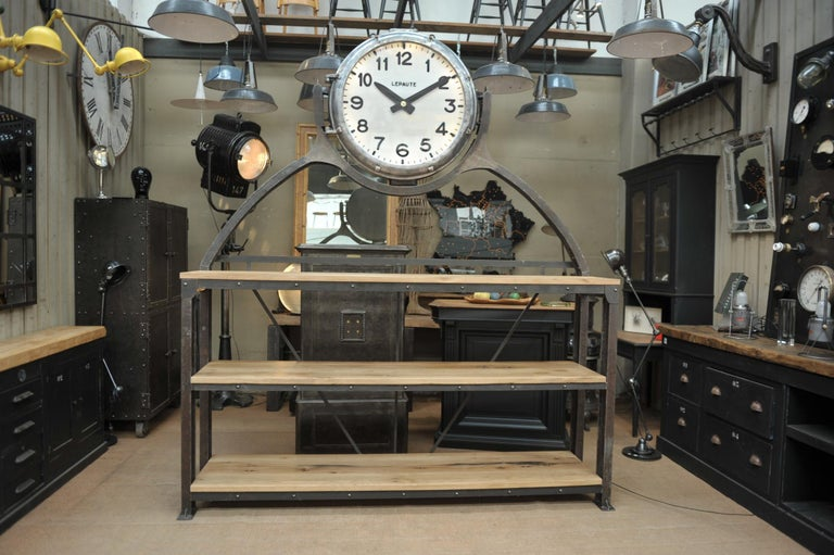 Industrial Large Shelf with Parisian Subway Lepaute Clock, circa 1950 For Sale 13