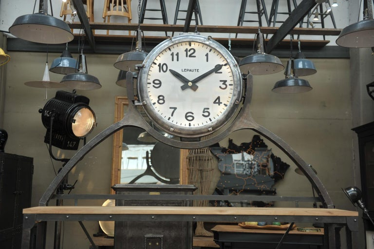 French Industrial Large Shelf with Parisian Subway Lepaute Clock, circa 1950 For Sale